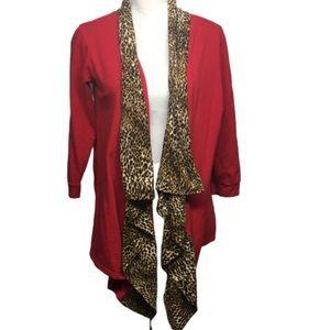 Red & Cheetah Print Cardigan